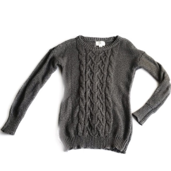 Ruby Moon Gray Chunky Cable Knit Fisherman Sweater